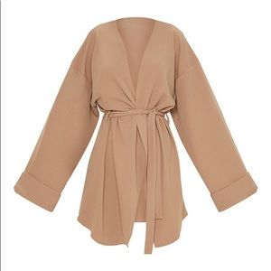 pretty little thing  camel sleeve blazer.